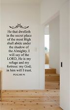 he that dwelleth psalms 91 wall sticker wall lettering vinyl decals christian - Home Decor Decals