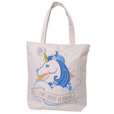 Unicorn Shopping Bag Rainbow Shoulder Cotton Mix zipped lined reusable shopper