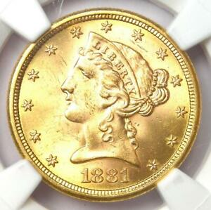 1881-S Liberty Gold Half Eagle $5 Coin - Certified NGC MS64 (BU UNC) - Rare Coin