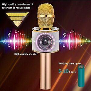 Bonaok Wireless Bluetooth Karaoke Microphone Portable Handheld Speaker Gold