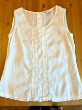 Ladies NEXT 100% linen next women white sleeveless top blouse size 12