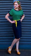 Lovely Retro Style Tabby Two Tone Pencil Dress ~Friday On My Mind ~Small UK 10~
