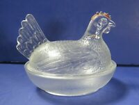 Vintage Indiana Glass Chicken on a Nest Covered Candy Dish - Clear