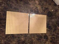 2 Lego tan 16x16 dot Baseplates Base Plate
