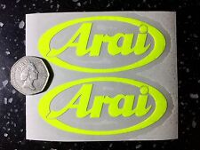 2x Arai fluorescent yellow SAFETY Day time visibility Motorcycle Helmet Sticker