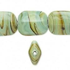 5882 Pressed Glass Rectangle Beads Green 15 inch strand *UK EBAY SHOP*