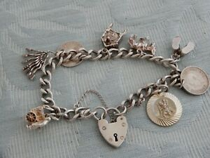 Vintage Georg Jensen Silver Charm Bracelet + GJ St Chris charm, from old estate