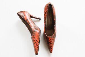 Bellini   Vintage 90's Orange & Black Reptile Print Pump Heels