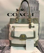 NWT COACH Tote Shopper PENELOPE SPECTATOR Gray White Leather Purse Bag 13158