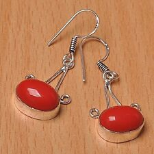 925 Silver Overlay Earrings Jewellery - Coral- 25mm Height - EAR-A128