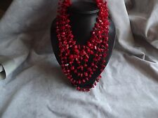 MULTI STRAND RED CORAL CHIP NECKLACE