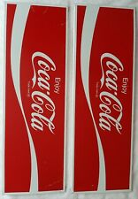 "2 Orignl Vintage Metal Coke Sign COCA COLA Machine Soda 10 x 30.5"" Flange Edges"