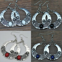 Women's Vintage Silver Bohemian Boho Tibetan Carved Gem Drop Dangle Earrings New