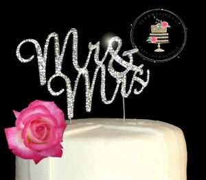 Traditional Rhinestone sparkle Diamante Monogram Wedding Cake Topper Mr & Mrs