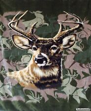 "Plush Warm QUEEN SIZE BUCK DEER HUNTER CAMO CAMOUFLAGE Faux Mink Blanket 79""x95"""