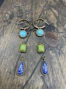 Barse Swap Meet Earrings- Mixed Stones-T,LT, L- Bronze- NWT
