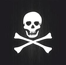 Autocollant sticker macbook laptop voiture moto pirate tete mort blanc casque