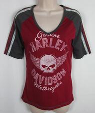 Harley Davidson shirt V-neck Football jersey style Tee Frederick MD Womens S