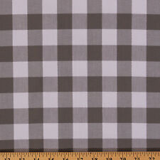 Carolina Gingham Buffalo Check Gray White Cotton Fabric Print by Yard D470.17