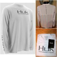 NWT $45 HUK Performance Fishing Men's Icon Long Sleeve T-Shirt White Size Small