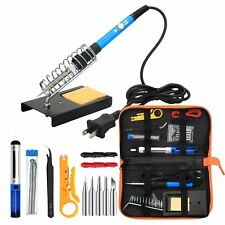 Electric Soldering Iron Tool Kit 110V 60W Adjustable Temperature Welding Case