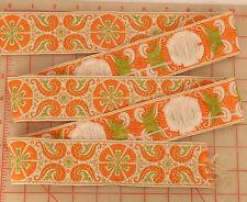 "4 yards vintage padded woven french ribbon orange white green flower paisley 2"""