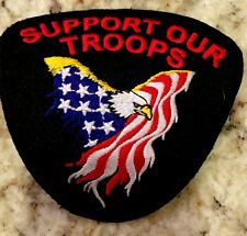 Support Our Troops Eagle & Flag Embroidered Military Patch New Biker Patch