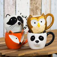 Set of 2 Woodland Animal 3D Mugs Novelty Tea Coffee Hot Chocolate Latte Cups