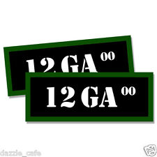 """12 GA 00 Ammo Can 2x  Labels  Ammunition Case 3""""x1.15"""" stickers decals 2 pack"""