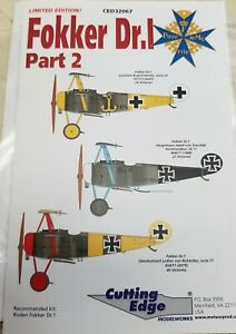 1/32 CUTTING EDGE FOKKER DR1  TRIPES PART 2 DECAL SET  #CED32067 N.I.P.