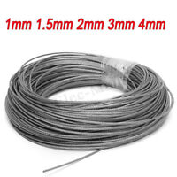 1mm 1.5mm 2mm 3mm 4mm Stainless Steel Cable Rigging Wire Rope Flexible 1M-100M