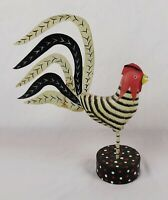 Vintage Wood and Metal Folk Art Primitive Hand Painted Rooster Figure Statue