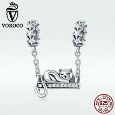 Voroco New 925 Sterling Silver Cat Swing Charm Pendant Crystal Bead For Bracelet
