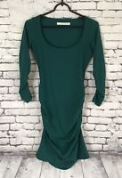 Susana Monaco Emerald Green Dress Ruched sides Women's Size Small