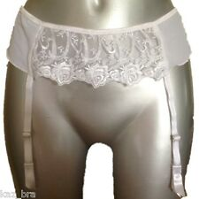 New White Suspender Belt UK 14 Eur 42 Sheer Mesh & Floral Rose Embroidery Bridal