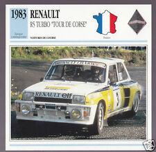 1983 Renault R5 Turbo Tour De Course Jean Ragnotti Race Car Photo French Card