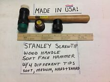 STANLEY (BEST BRAND) SCREW-ON URETHANE TIP HAMMER WOOD w/4 Tips: Soft to X-Hard