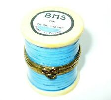 LIMOGES BOX - SEWING - SPOOL OF BLUE THREAD & SCISSORS