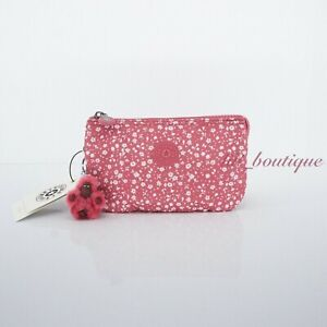NWT Kipling AC3439 Creativity L Large Accessory Pouch Nylon Dainty Daisies Pink
