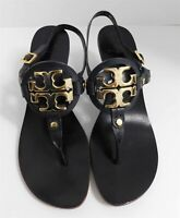 Tory Burch Holly 2 Black Leather Thong Heels Sandals Gold Medallion 10 M