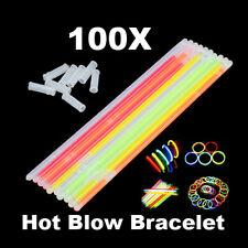 100xGlow Light Sticks Bracelets Asst Color Neon Party Luminous Necklaces Glasses