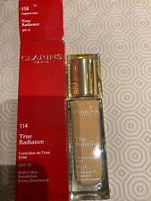 Clarins True Radiance 114 Cappuccino Spf15 Perfect Skin Evens & Illuminates