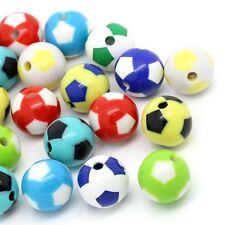 Lot 10 Perles Ballon de football Mixte Acrilique 12mm, bijoux, attache tetine