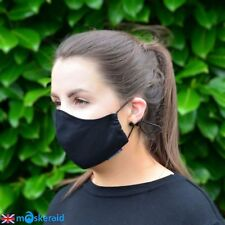 MASKERAID Black Cotton Canvas Face Mask Mouth Nose Reusable Machine Washable