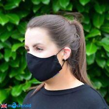 MASKERAID Black Cotton Canvas Face Mask Mouth Nose Reusable Machine Washable