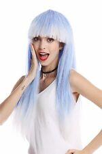 Perücke Damenperücke Karneval Halloween lang glatt Pony blau weiß Disco Glam