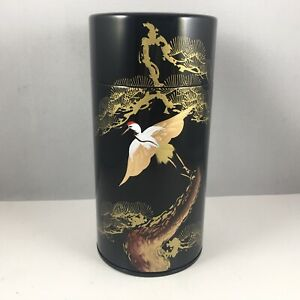 """Japanese Tea Canister Tin Container 6"""" Black/Gold Pine Tsuru Crane Made in Japan"""
