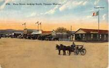 Tijuana Mexico Main Street Scene Horse Carriage Antique Postcard K11189