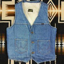 Vintage Wrangler Trucker Vest Sherpa Shearling Lined Denim Made In The USA 730