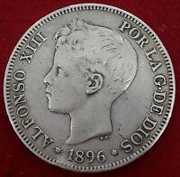 ESPAÑA 5 PESETAS 1896 * 18 96 PGV REY ALFONSO XIII  MONEDA DE PLATA (DURO)